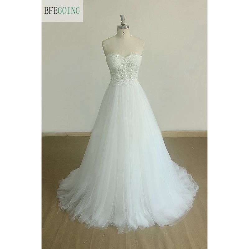 White Tulle Lace Sweetheart Strapless Floor-Length A-line Wedding Dress Chapel Train Custom Made