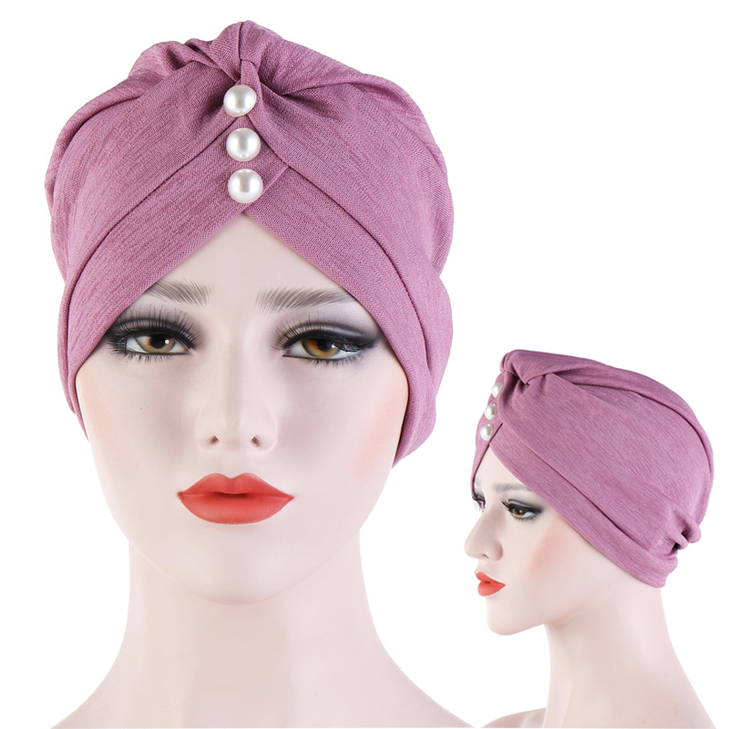 Latest Hair Cover Turban Women Fashion Solid Banadans Simulated Pearl Cancer Headwrap Chemo Caps Hats Head Wrap Hair Accessories(China)