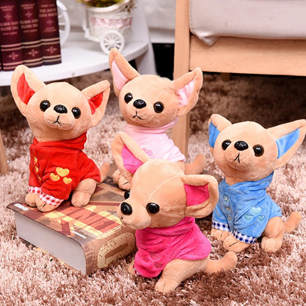 Милая Мини-собака Чихуахуа 17 см, плюшевая игрушка, мягкая кукла-животное, подарок на день рождения, плюшевая подушка, мягкие игрушки-животны...