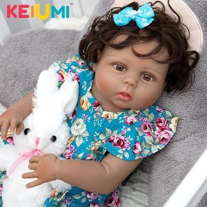 KEIUMI Reborn Baby Dolls 23 Inch Full Silicone Vinyl Body 57 cm Lifelike Newborn Girl Doll For Children's Day Gifts Kids Present