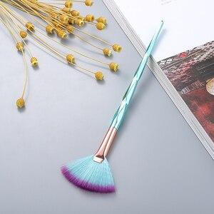 Image 5 - FLD מקצועי איפור מברשת יהלומי פנים מאוורר אבקת מברשת איפור באיכות גבוהה כלי ערכת סומק