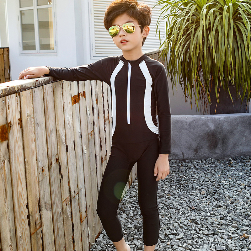 Children Split Type Swimsuit Big Boy Long Sleeve Sun-resistant BOY'S Swimming Trunks Combo 8-12-15-Year-Old Teenager Swimwear
