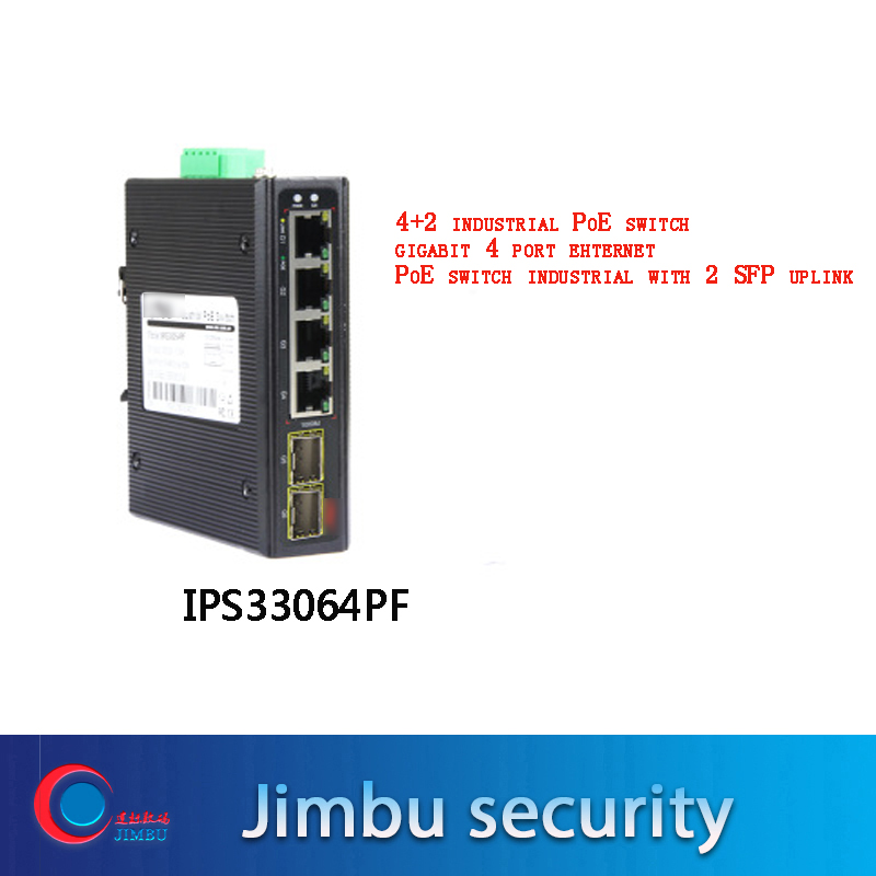 Most Popular CCTV Camera 4+2 Industrial PoE Switch Gigabit 4 Port Ehternet PoE Switch Industrial With 2 SFP Uplink  IPS33064PF