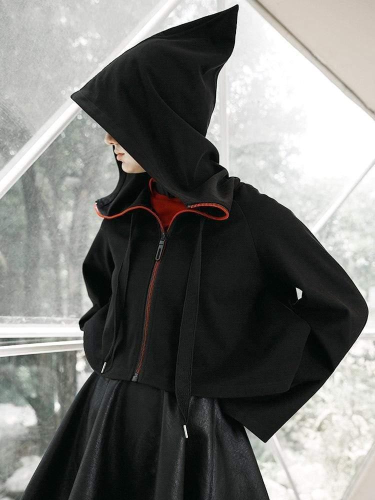Punk Rave Vrouwen Gothic Rits Hooded Heks Korte Jassen PY 438XD - 2