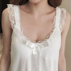 Image 3 - Camisón de algodón para mujer, Sexy, de encaje, sin mangas, con espalda descubierta y lazo, Estilo Princesa, Vintage