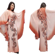 African Costumes Muslim Long Dress Sleeve Africa Women Clothing Length Fashion Printing Slim Ruffle Maxi