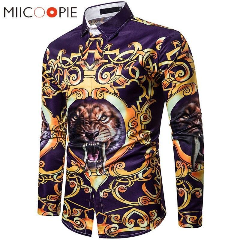 3D Printed Animal Tiger Mens Shirts Fashion Designer Casual Long Sleeve Camisa Social Shirt Men Camisa Hombre Hip Hop Streetwear