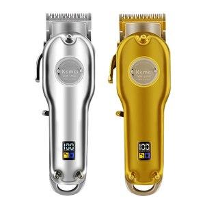 Image 1 - Kemei 1986 all metal barbeiro máquina de cortar cabelo profissional elétrica sem fio lcd aparador de cabelo ouro prata máquina de corte de cabelo cortador