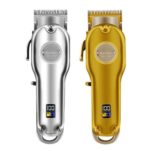 Kemei 1986 tondeuse professionnelle en métal pour coiffeur, rasoir électrique sans fil pour couper cheveux, affichage LCD, disponible en couleurs or et argent