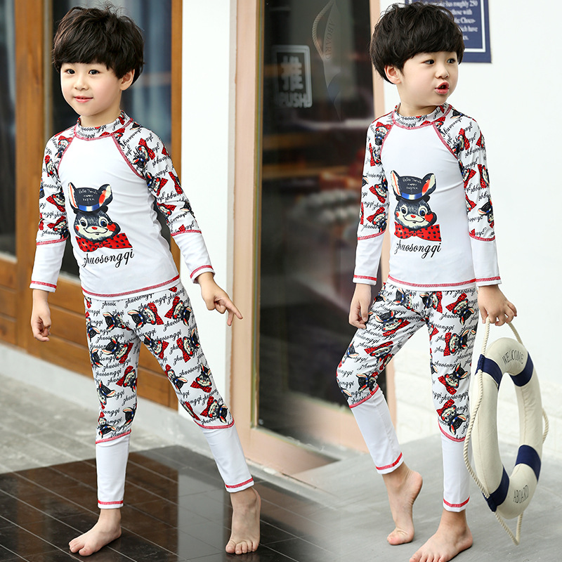 BOY'S Swimsuit Split Type Long Sleeve Trousers Sun-resistant Two Piece Set Quick-Dry Surfing Jellyfish Clothing CHILDREN'S Swimw