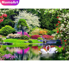 MomoArt Diamond Painting Swan Love Embroidery Landscape Mosaic Full Square Drill Rhinestone Home Decor
