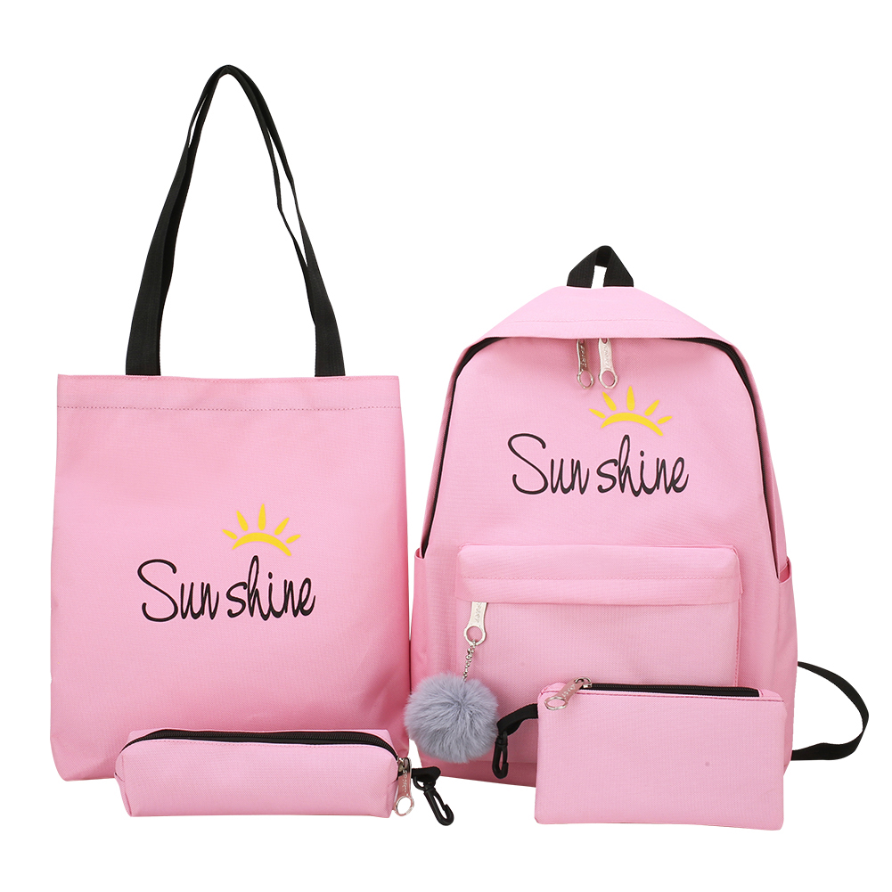 4pcs/set Composite Bags Women Letter Mochila Canvas <font><b>Backpack</b></font> Travel Rucksacks Leisure <font><b>Backpacks</b></font> <font><b>For</b></font> <font><b>Teenage</b></font> Girls <font><b>School</b></font> Bagpack image