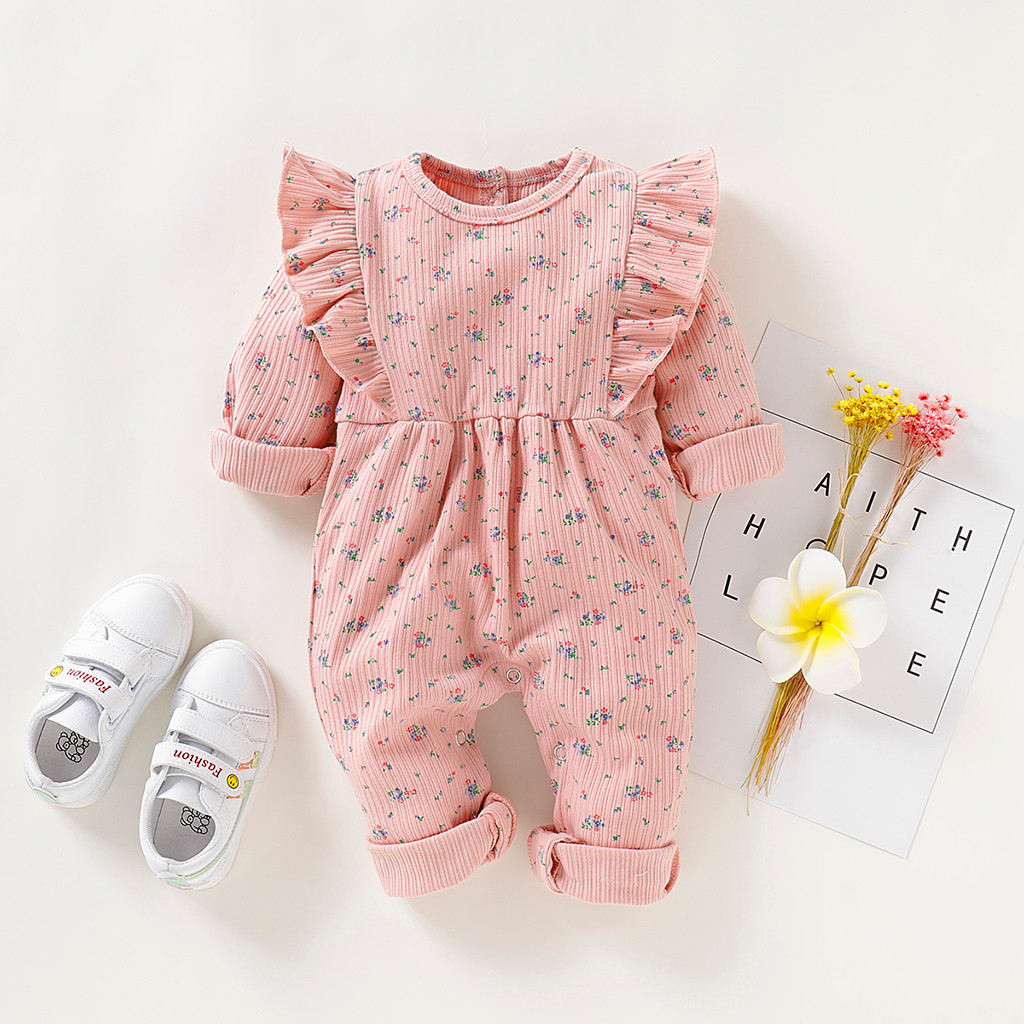 2019 New Autumn Winter Newborn Infant Baby Girls Long Sleeve Ruffles Floral Print Romper Jumpsuit Clothes  30