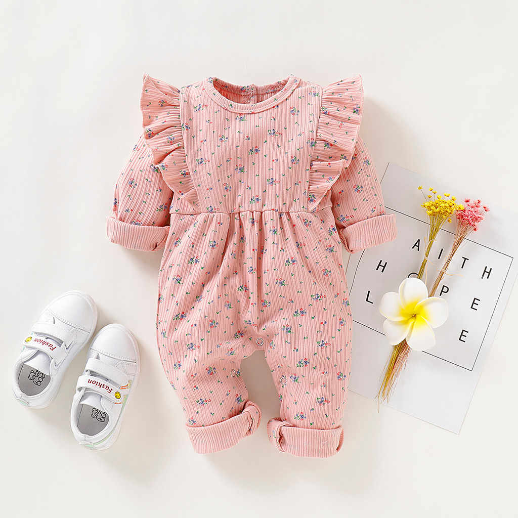 Newborn Baby Girls Boys Romper Coat Infant Floral Ruffle Thick Jumpsuit Floral Print Playsuit Button Outfits