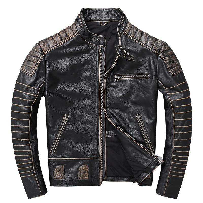 Mens Genuine Lambskin Leather Jacket Slim Fit Moto Biker Jacket T350