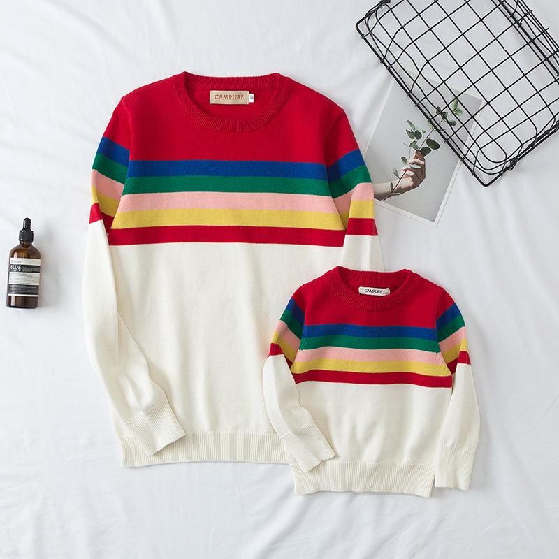 Matching Family Outfits Children Christmas Sweater Autumn Rainbow Striped Kids Baby Sweaters Pullovers Dad Mom And Me Clothes