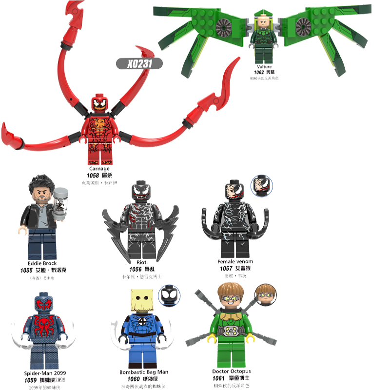 Movie Iron Man Spider-man Dead-pool Octopus Marvel Venom Super Heroes Building Blocks Toys For Children Kid Party Gifts X0231