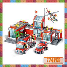 774pcs City Fire Station Model Building Blocks Pompieri Plastic Bricks Educational Toys for Children Gift Compatible hsanhe mini building blocks bricks architecture diy toys kids educational compatible legoe city bricks toys gift for children