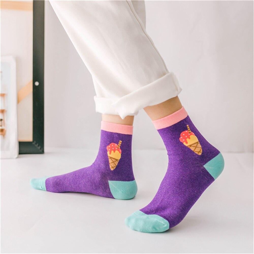 Shark Eating Pizza Crew Sock Cotton Funny Solid Socks Unisex