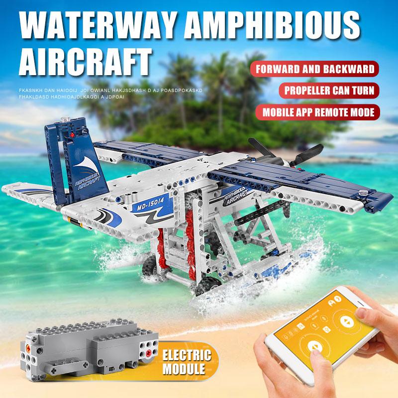 MOULD KING 15014 The Motorized Amphibious Aircraft Building Blocks