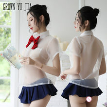 Sexy Studenten Uniform Cosplay Costume Porno Lingerie Ecoliere Mesh Garen Sexy Kleding Erotische Schooluniform Clothes for Sex(China)