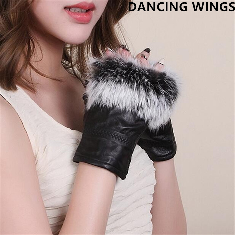 High Fashion Famous Celebrities Genuine Sheepskin Leather Real Fur Fingerless Gloves For Ladies AG-22