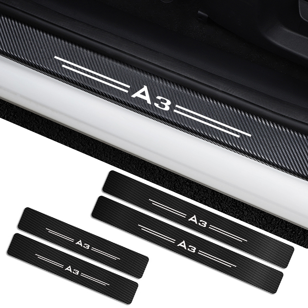 4PCS For Audi A3 8P 8V 8L A4 B5 B6 B7 B8 B9 A5 A6 C6 C5 C7 A1 A7 A8 Q2 Q3 Q5 Q7 TT Car Door Sills Guards Stickers Accessories
