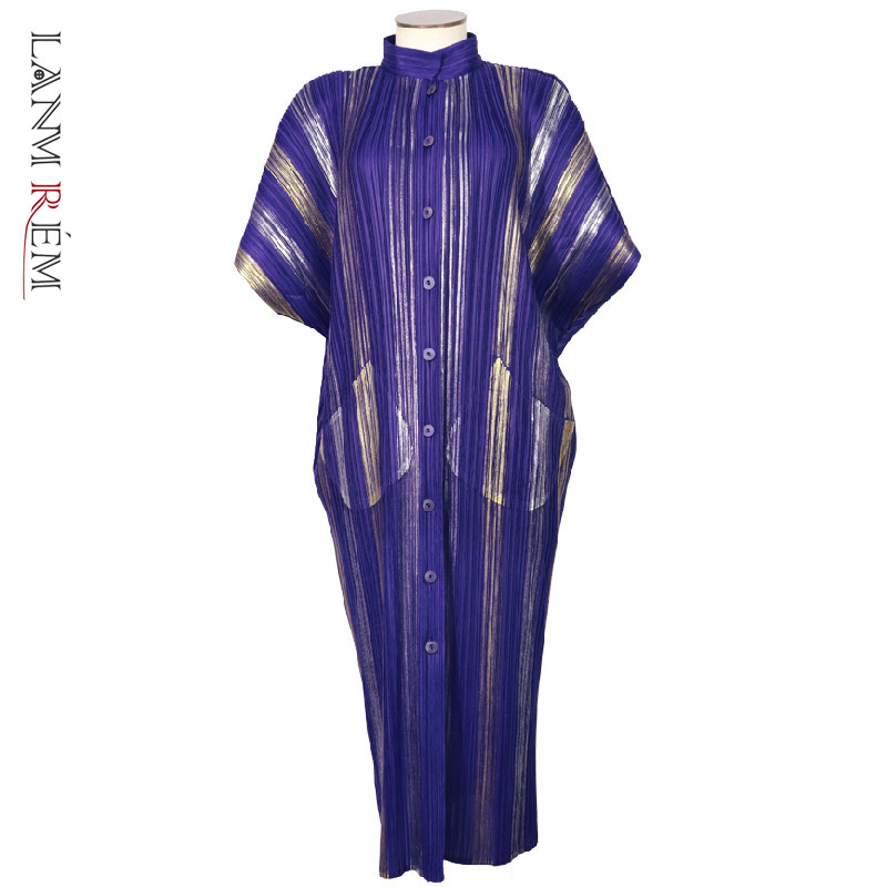 LANMREM High Quality Colors Stripe Single-breasted Pleated Dress Women 2020 Fashion New Temperament Clothes With Pockets YH804