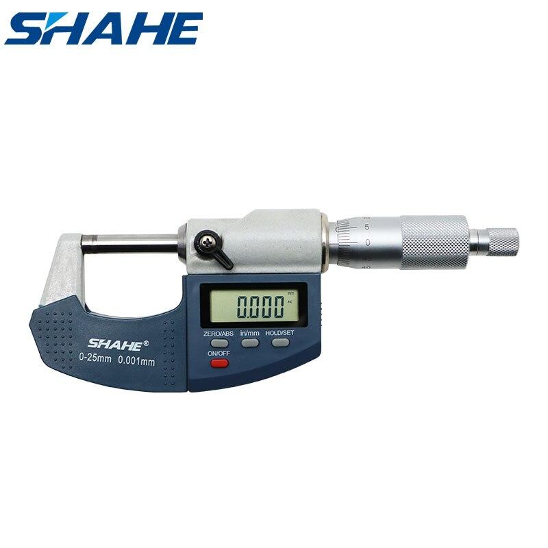 Цифровой микрометр SHAHE, 0,001 мм, 0-25 мм, электронный наружный микрометр со шкалой, микрометр, измерительный прибор
