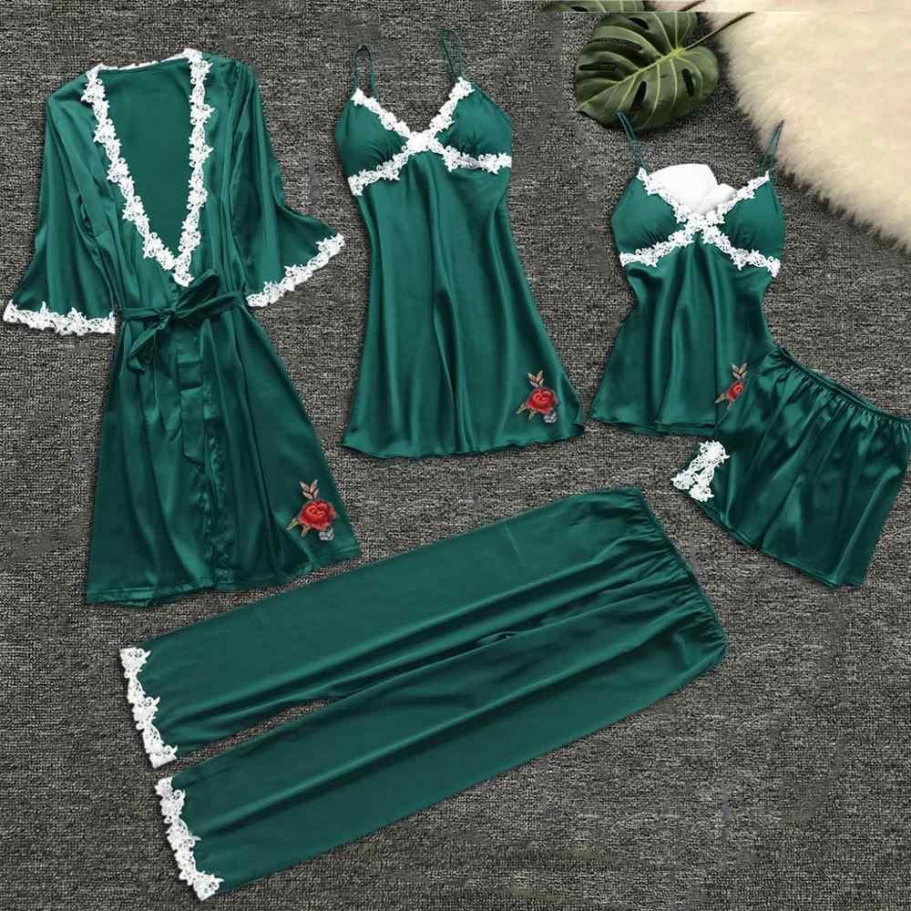 ดอกไม้พิมพ์ชุดนอนชุดสตรีชุดนอน Nightgown ชุดนอนชุดชั้นในสตรี robes babydolls ชุด 5pcs ชุดนอนชุดชั้นใน