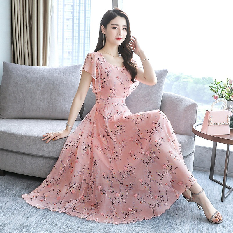 Kuotaitai Dress Summer Women's Nobility 2019 Popular Skirt WOMEN'S Dress Large Size Fat Mm Belly Covering By Age Mom Summer Wear