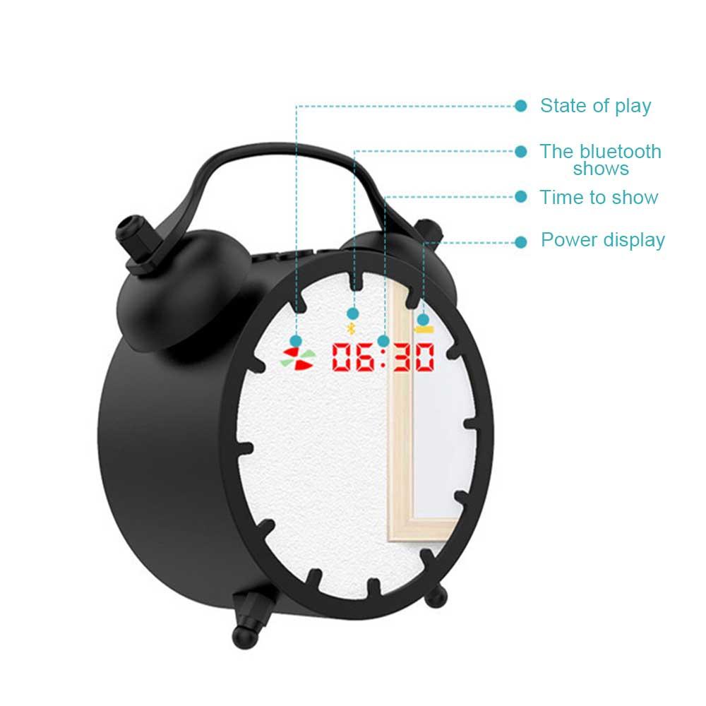 alarm clock Retro Alarm Clock Bluetooth Mini Speaker Mirror-Clock Sound Plug-in card Subwoofer Portable wireless speakers for ALL Smart (2)