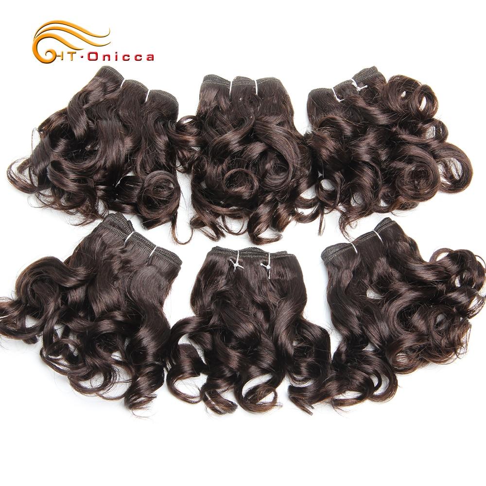 Curly Human Hair Bundles 100% Human Hair Bundles Brazilian Hair Weave Bundles 6 Pcs/Lot Color 1B/2/4/30/33/99J Curly Hair 6
