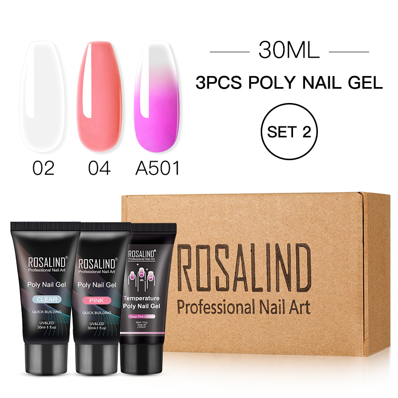 ROSALIND Poly Nail Gel Extension Nail Kit All For Manicure Gel Set Acrylic Solution Water Builder Gel Polish For Nail Art Design 16