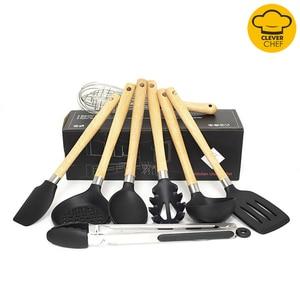 8 шт./компл., силиконовая резинка, деревянная ручка с цветной коробкой, Наборы инструментов для приготовления пищи, лопатка черпак, суп, инстр...