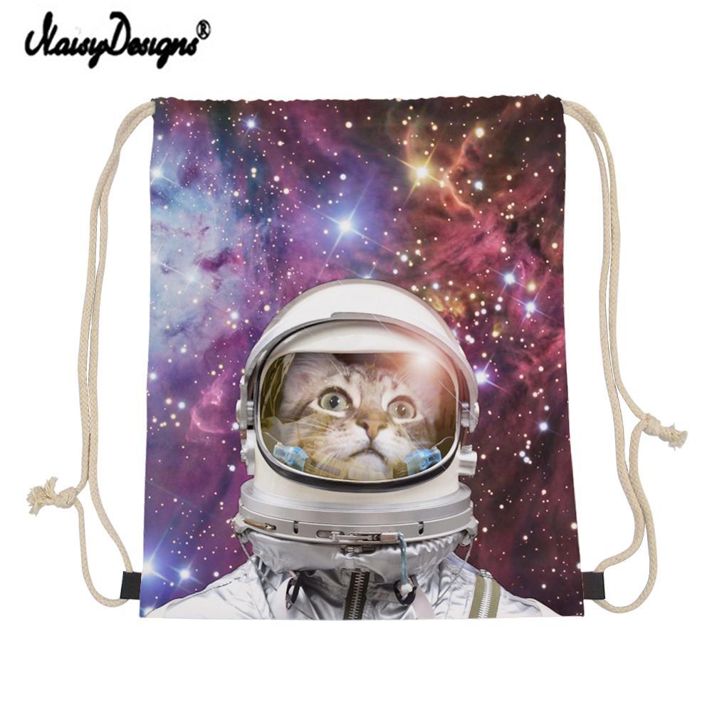 Fashion Girl Boys Drawstring Bag Cats In Space Print Girls Men Women Mini Canvas Backpack Mochila Shoe Bags For Travel Ladies