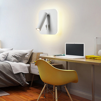 Bedside reading lamp wall lamp led hotel Nordic minimali bedroom study round square double control rotating wall lamp LED light