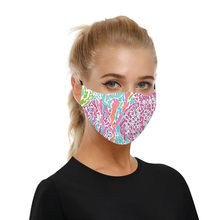 1 Pcs Pink Floral Print Face Mask Women Unisex Party Accessories Cosplay Cosutme Apparel Print Face Costume Mouth Decor#0812y30(China)