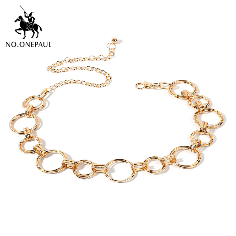 NO.ONEPAUL Women Belts Fashion Waist Chain Geometric Circle Metal Chain Waist ChainHigh-quality Luxury Brand Belt For Women