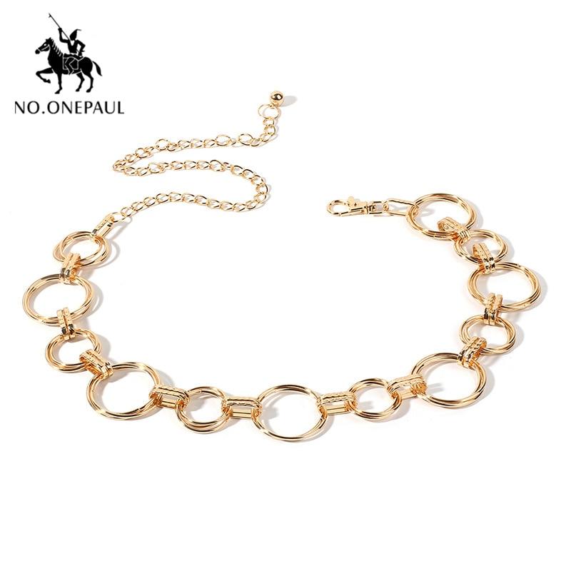 NO.ONEPAUL Women Belts Fashion Waist Chain Geometric Circle Metal Chain Waist ChainHigh-quality Luxury Brand Belt For Women