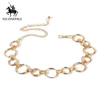 NO.ONEPAUL women belts Fashion waist chain geometric circle metal chainHigh-quality luxury brand belt for