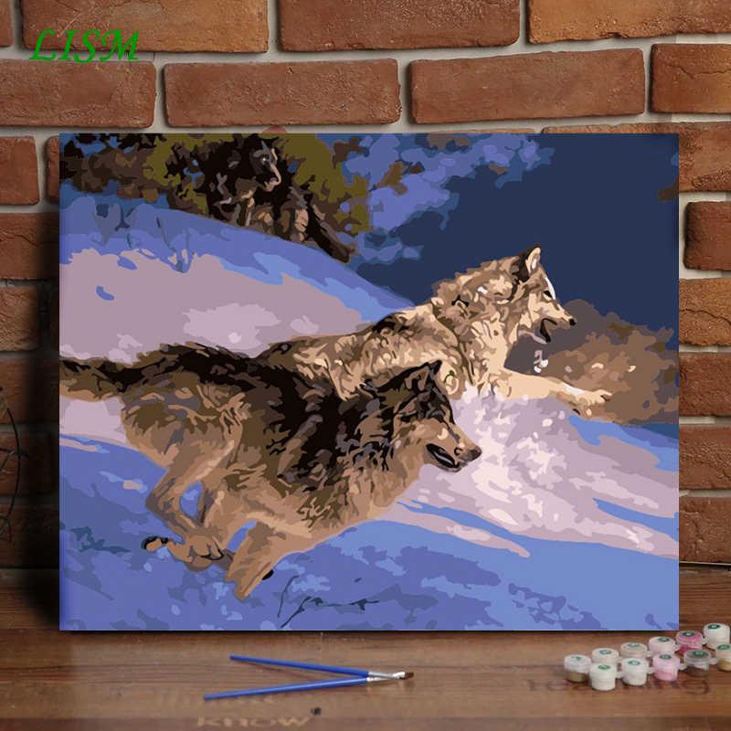 LISM النفط اللوحة بواسطة أرقام الحيوانات الذئب تشغيل الاكريليك الطلاء مجردة الحديثة الرسم على لوحات القماش الجدارية للمنزل ديكور 40x50