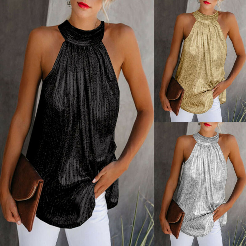 Women Gold Blouse 2019 New Fashion High Neck Sleeveless Hatler Tank Top Vest Summer Casual Loose Blouse Shirt Tee