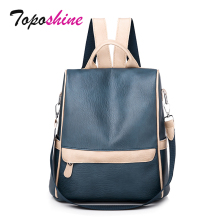 Toposhine New Fashion Lady Backpack Women Soft PU Leather School Teenager Girls Casual Shoulder Bag Black Mochia