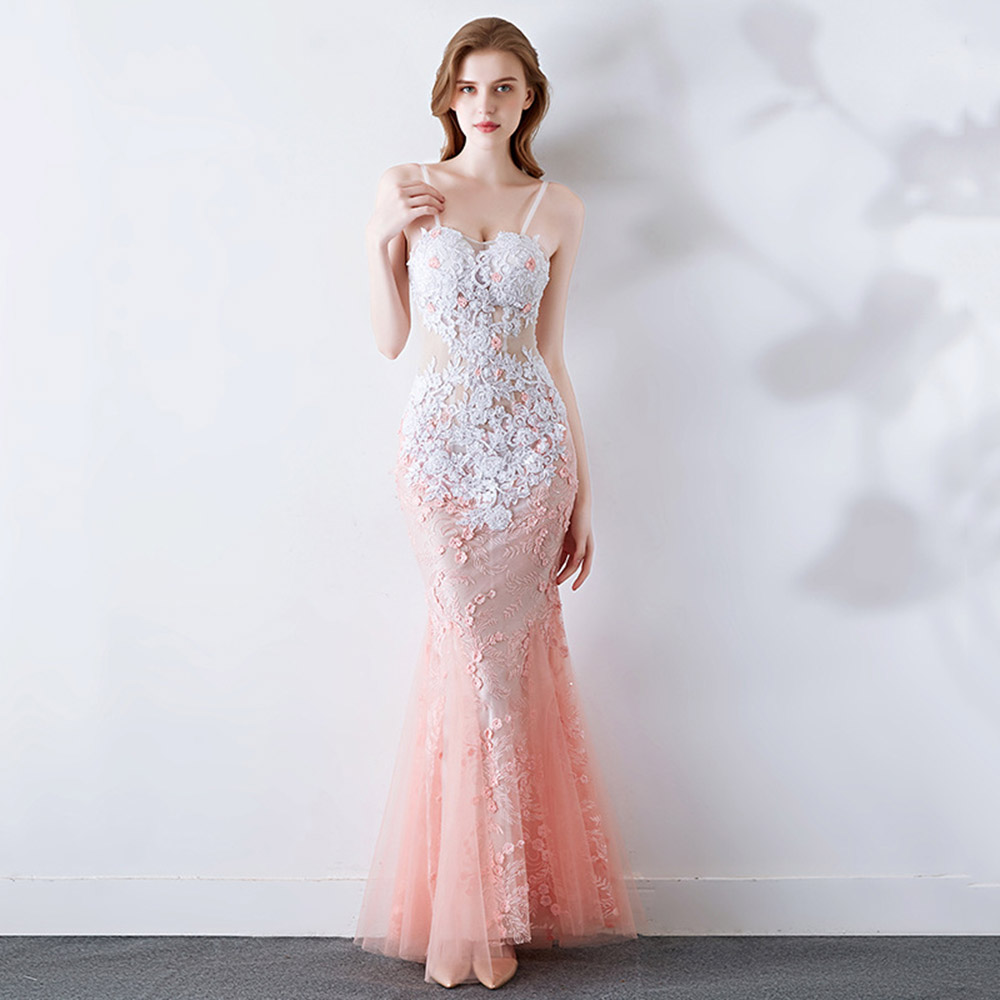 Fleash Pink Prom Dress Spaghetti Straps Mermaid Appliques Lace Transparent Floor Length Evening Party Formal Prom Dresses