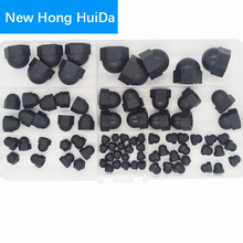 Black Nylon Acorn Nut Metric Thread Plastic Decorative Cover Semicircle Cap Nut M3 M4 M5 M6 M8 M10 M12 Assortment Kit Set