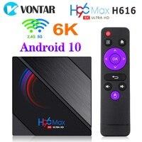Vontar-tv box h96 max h616 com android 10, reprodutor de mídia, 4gb de ram, 64gb de rom, 1080p, 4k, bt, google play store, youtube