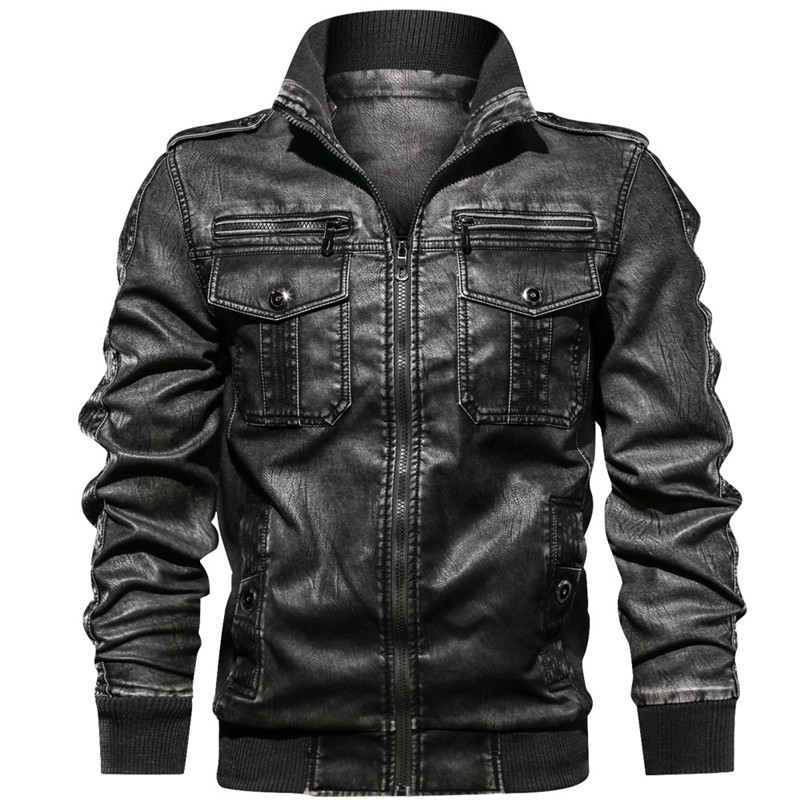 New Men's Military Jacket Casual Army Fitness Fur Coat Bomber Anti-Leather European Size Men's Leather Jacket