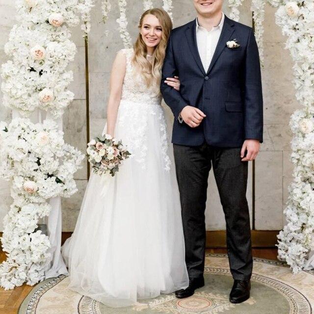 LORIE 2020 Scoop Lace Applique A Line Wedding Dresses Sleeveless Tulle Boho Bridal Gowns Long Train Elegant Princess Dresses 5