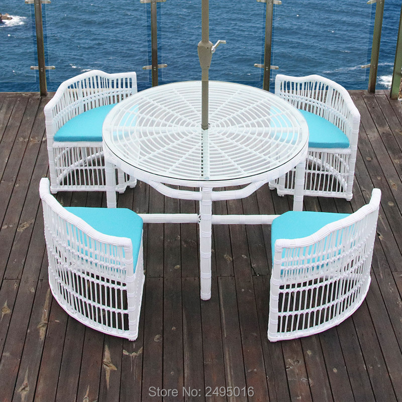5 Pcs /set Patio Rattan Furniture Set Outdoor Backyard Dining Table And 4 Chairs White With Cushions No Umbrella